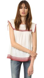 The Great Needle Point Top Off White With Red Embroidery