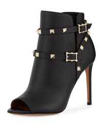 Valentino Rockstud Strappy Ankle Boot Black