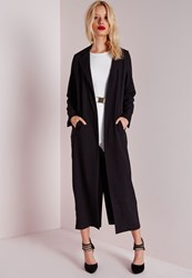 Missguided Long Sleeve Maxi Duster Coat Black