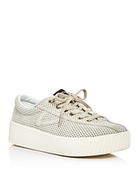 Tretorn Tretron Nylite Bold Perforated Lace Up Platform Sneakers Light Natural