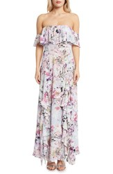Willow And Clay Floral Print Ruffle Maxi Dress Lilac