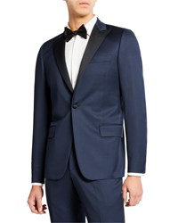 Hickey Freeman Peak Lapel Two Piece Tuxedo Suit Navy Solid