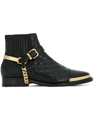 Balmain Padded Buckle Ankle Boots Black