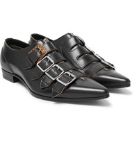 Gucci Quebec Leather Monk Strap Shoes Black
