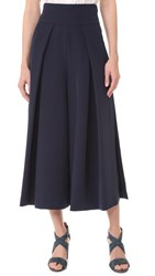 Milly Cady Cropped Slit Culottes Navy