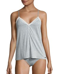 Calvin Klein Lace Trim Camisole And Panties Set Grey