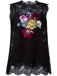 Dolce And Gabbana Floral Embroidery Lace Top Black