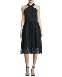 Carmen Marc Valvo Halter Fit And Flare Lace Combo Dress Black Ivory