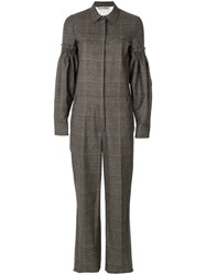 Veronique Branquinho Tweed Jumpsuit Virgin Wool Brown
