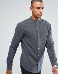 Only And Sons Shirt In Slim Fit Striped Grandad Collar Blue White