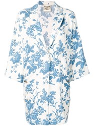 Semicouture Floral Printed Coat Blue