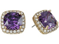 Betsey Johnson Cubic Zirconia Recolor Halo Large Square Stud Earrings Tanzanite Earring Blue