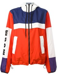 Msgm Hooded Zipped Jacket Red