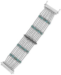Lucky Brand Silver Tone And Blue Stone Feather Multi Chain Bracelet
