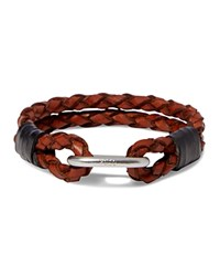 Polo Ralph Lauren Braided Leather Wrist Strap Bracelet Cuoio