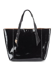Foley Corinna Ashlyn Patent Leather And Suede Reversible Tote Black