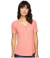 Calvin Klein Jeans Laced Up Short Sleeve Tee Shell Pink Women's T Shirt