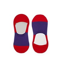 Barneys New York Colorblocked Stretch Cotton No Show Socks Red