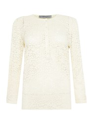 Marella Gettata Long Sleeve Lace Button Up Blouse Ivory