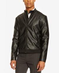 Kenneth Cole Reaction Men's Faux Leather And Neoprene Moto Jacket Black Combo