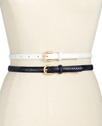Inc International Concepts 2 For 1 Skinny Belts Only At Macy's White Natural
