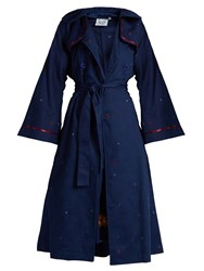 Thierry Colson Embroidered Matelasse Trench Coat Blue Multi