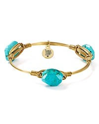 Bourbon And Boweties Wire Wrapped Bangle Gold Turquoise
