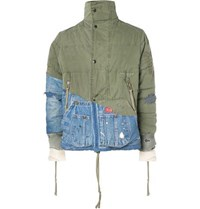Greg Lauren Panelled Distressed Cotton Canvas And Denim Jacket Green