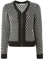 T By Alexander Wang Contrasting Cable Knit Cardigan Black