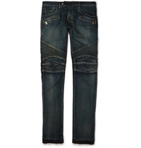 Balmain Regular Fit Washed Stretch Denim Biker Jeans Blue