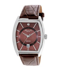 Kenneth Cole Stainless Steel Barrel Watch Brown