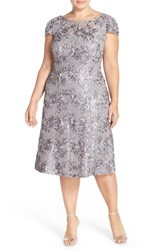 Plus Size Women's Alex Evenings Tea Length Rosette Lace A Line Dress