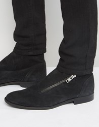 Asos Chelsea Boots In Black Suede With Wrap Over Zip Black