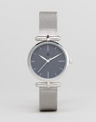 Asos Curve Premium Dark Grey Shoulder Detail Mesh Watch Silver