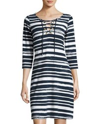 Tommy Bahama Brushed Breaker Striped Dress Black White