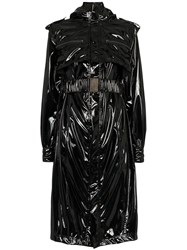 Faith Connexion Vinyl Belted Trench Coat Black