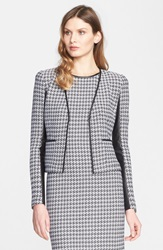 St. John Leather Trim Houndstooth Tweed Jacket Bright White Caviar