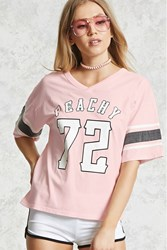 Forever 21 Peachy Graphic Tee Pink Black