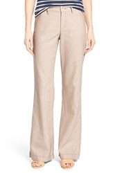Women's Nydj 'Claire' Cotton And Linen Blend Wide Leg Trousers Natural