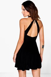 Boohoo Rachael Open Back Skater Dress Black