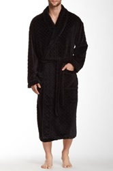 Majestic Lounge Diamond Lattice Plush Robe Black
