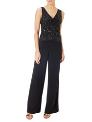 Adrianna Papell Beaded Jersey Jumpsuit Black