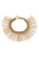 Treasure And Bond Women's Fringe Bracelet Olive Green Gold
