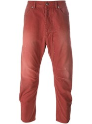 Diesel Distressed Cropped Trousers Red