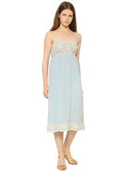 Blugirl Viscose Crepe And Lace Midi Dress