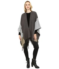 Echo Color Block Reversible Ruana Gunmetal Women's Sweater Gray