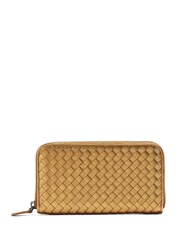 Bottega Veneta Intrecciato Zip Around Leather Wallet Gold