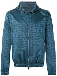 Pal Zileri Jacquard Hooded Jacket Blue