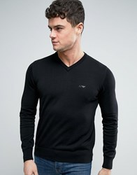Armani Jeans V Neck Knit Jumper Logo Regular Fit In Black Nero
