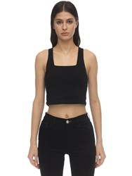 3X1 Ribbed Cotton Jersey Crop Top Black